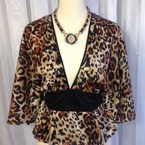 Bebe leopard print kimono top
